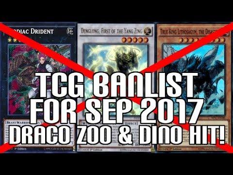 Yu-Gi-Oh! TCG Banlist Sep 2017 Forbidden & Limited List Updated! - True Draco, Zoo, & Dinos Hit!