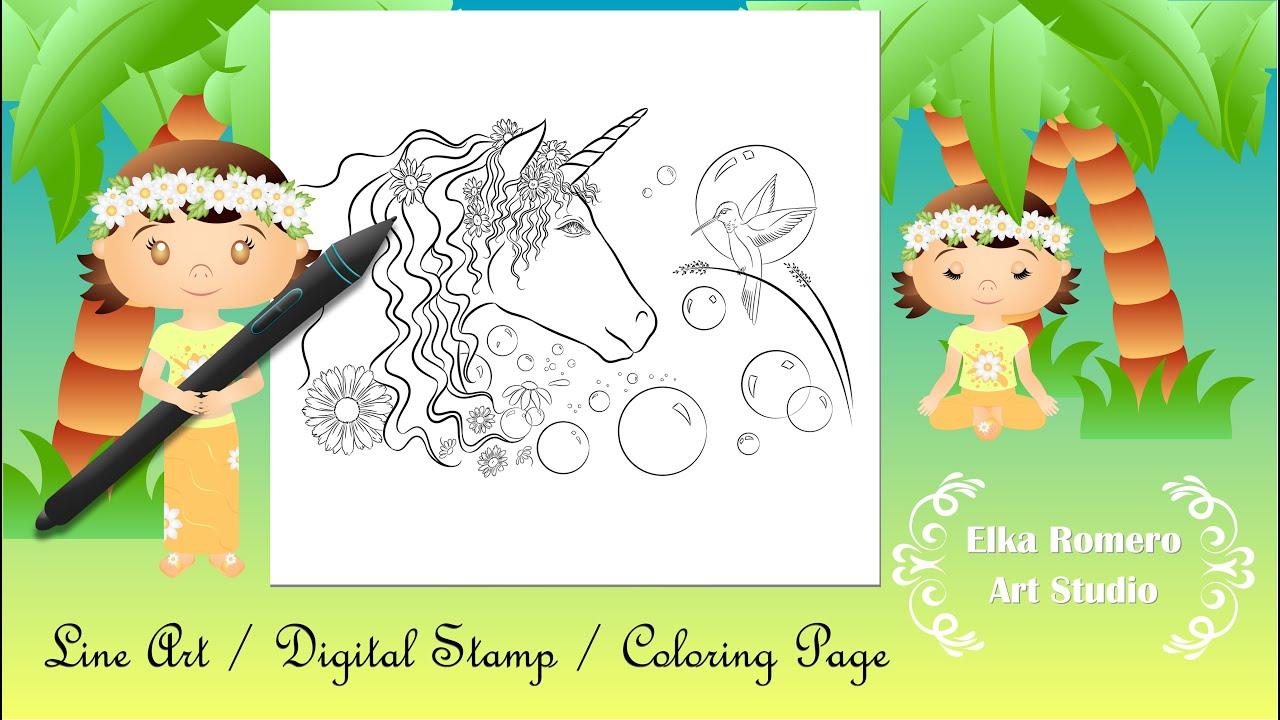 Desenho para colorir - Oniric Connection 1. (Line Art/Digital Stamp/Coloring Page)