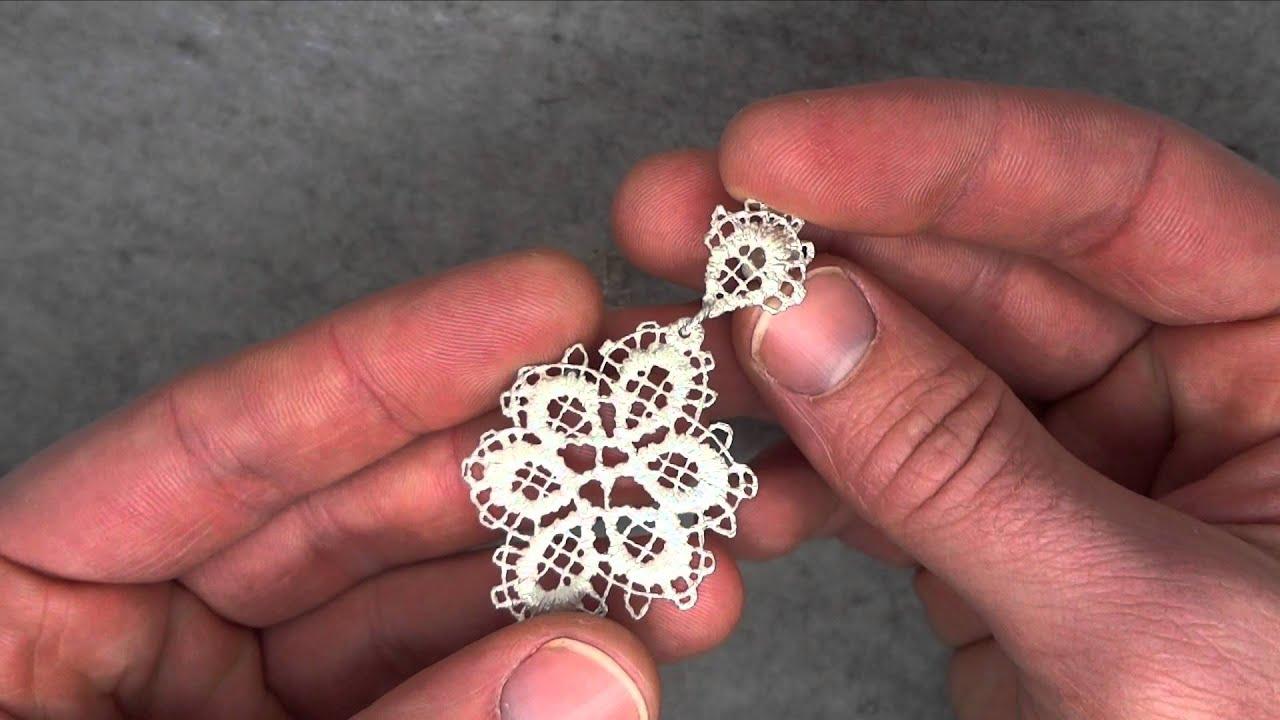 655560de8 Brigitte Adolph - Silver Lace Net Earrings - ORRO Contemporary Jewellery  Glasgow