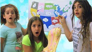 Throwing Darts at a Map and Making Slime Challenge Part 2!!!  1 Minute Slime Challenge!!