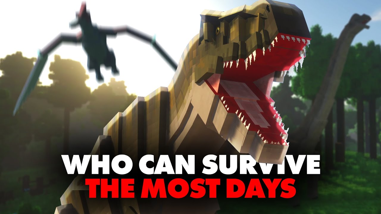 Whoever Can Survive The Most Days in Jurassic Park in Hardcore Minecraft Wins