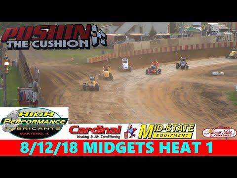 Angell Park Speedway - 8/12/18 - Badger Midgets - Heat 1