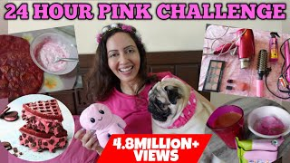 I Used Only PINK Colour For 24 Hours CHALLENGE 💖 Garima's Good Life