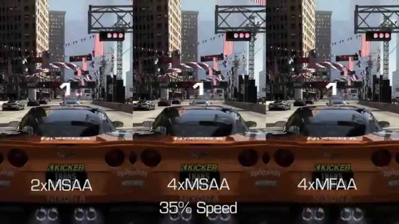 NVIDIA MFAA Comparison in GRID 2: 2x MSAA vs 4x MSAA vs 4x MFAA