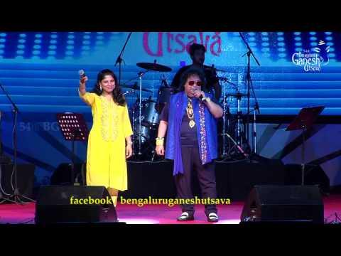 "Bappi Lahiri singing ""Yaar Bina Chain Kahan Re"" @ 54th Bengaluru Ganesh Utsava"