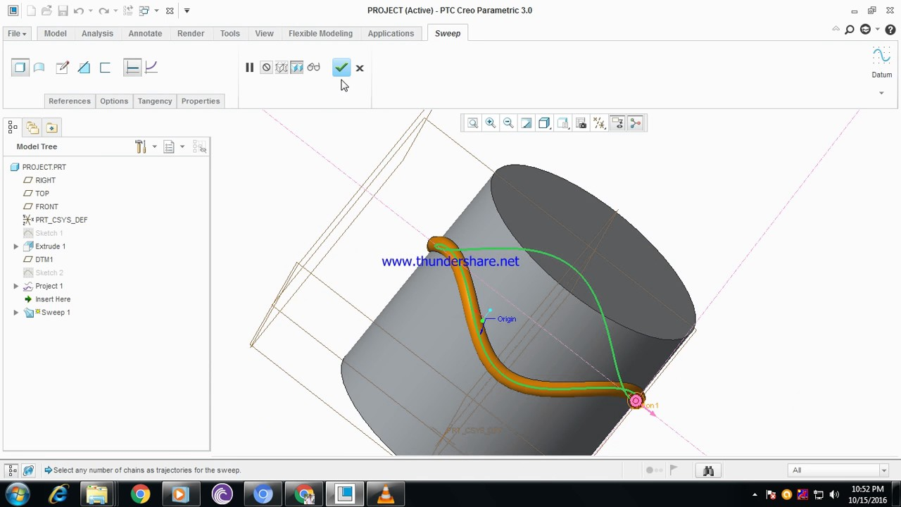 Project sketch profile on part creo parametric youtube - Creo projects ...