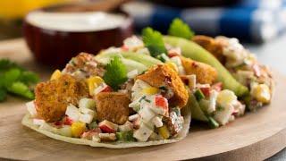 Tacos de Lechuga con Surimi