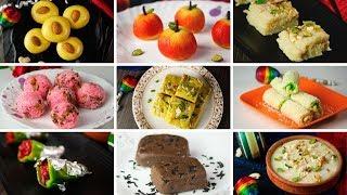 नवरात्री के नौ दिनों के 9 मिठाइयाँ मिल्क पाउडर से | Navratri Recipes | 9 Desserts u0026 Sweets Recipes