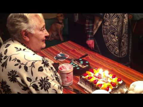 Mom's 76th birthday party (blowing out the candles)
