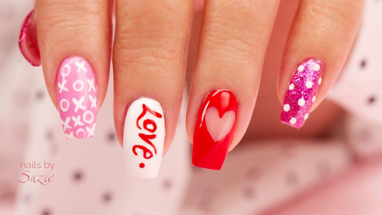 4 Ez Diy Hand Painted Valentine S Nail Art