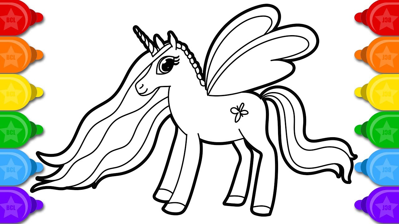 Glitter Fairy Unicorn in Clouds Drawing and Coloring Page ...