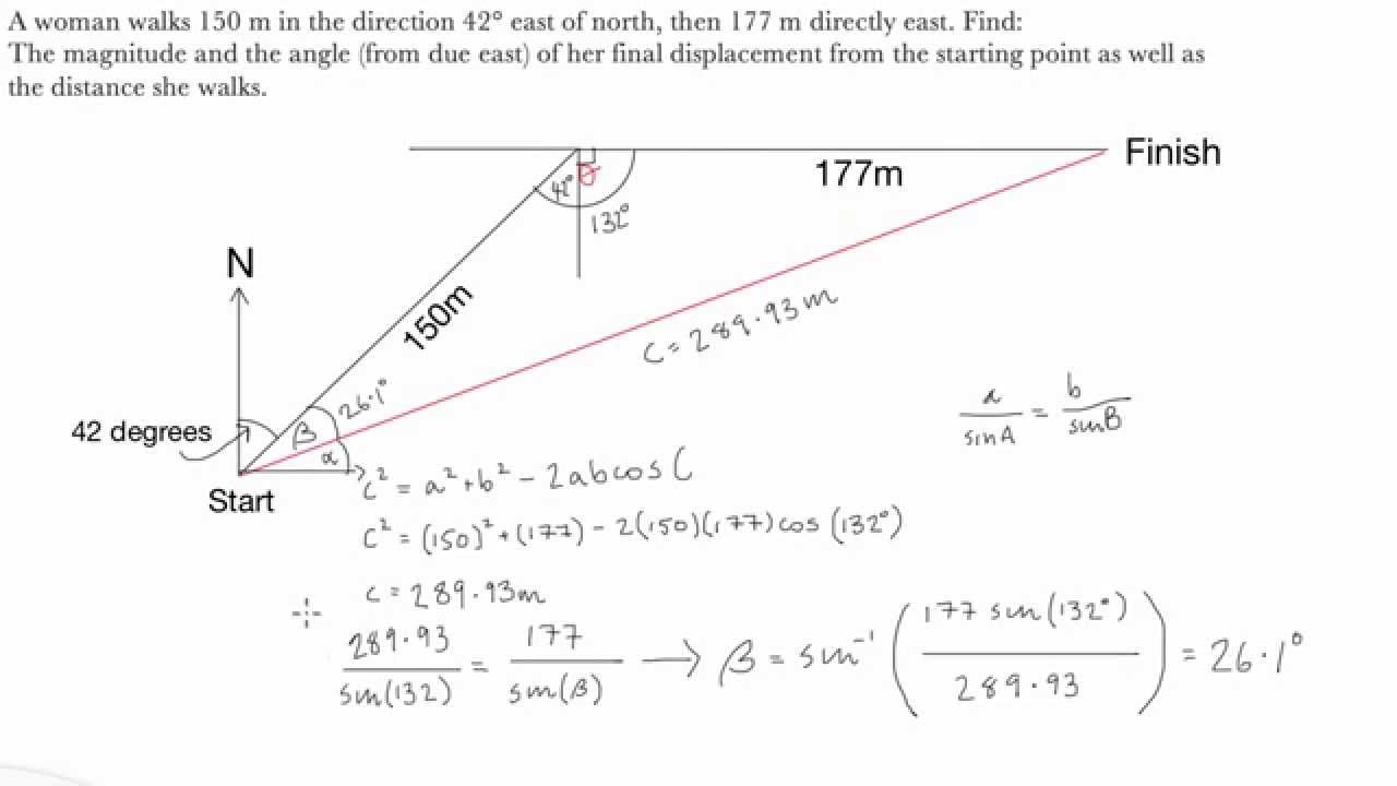 Introductory Displacement Example Physics Youtube