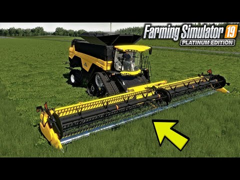LONE OAK FS19! MOWING GRASS WITH A COMBINE!