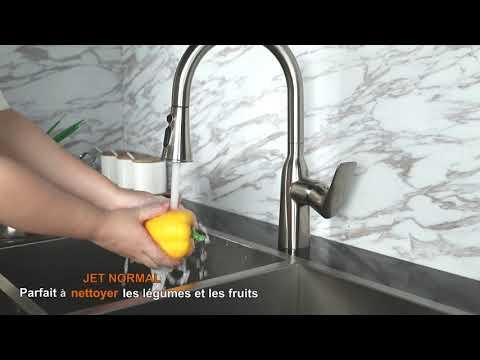 WOWOW Robinet Cuisine Douchette Extractible Mitigeur Evier Cuisine Pivotant à 360°