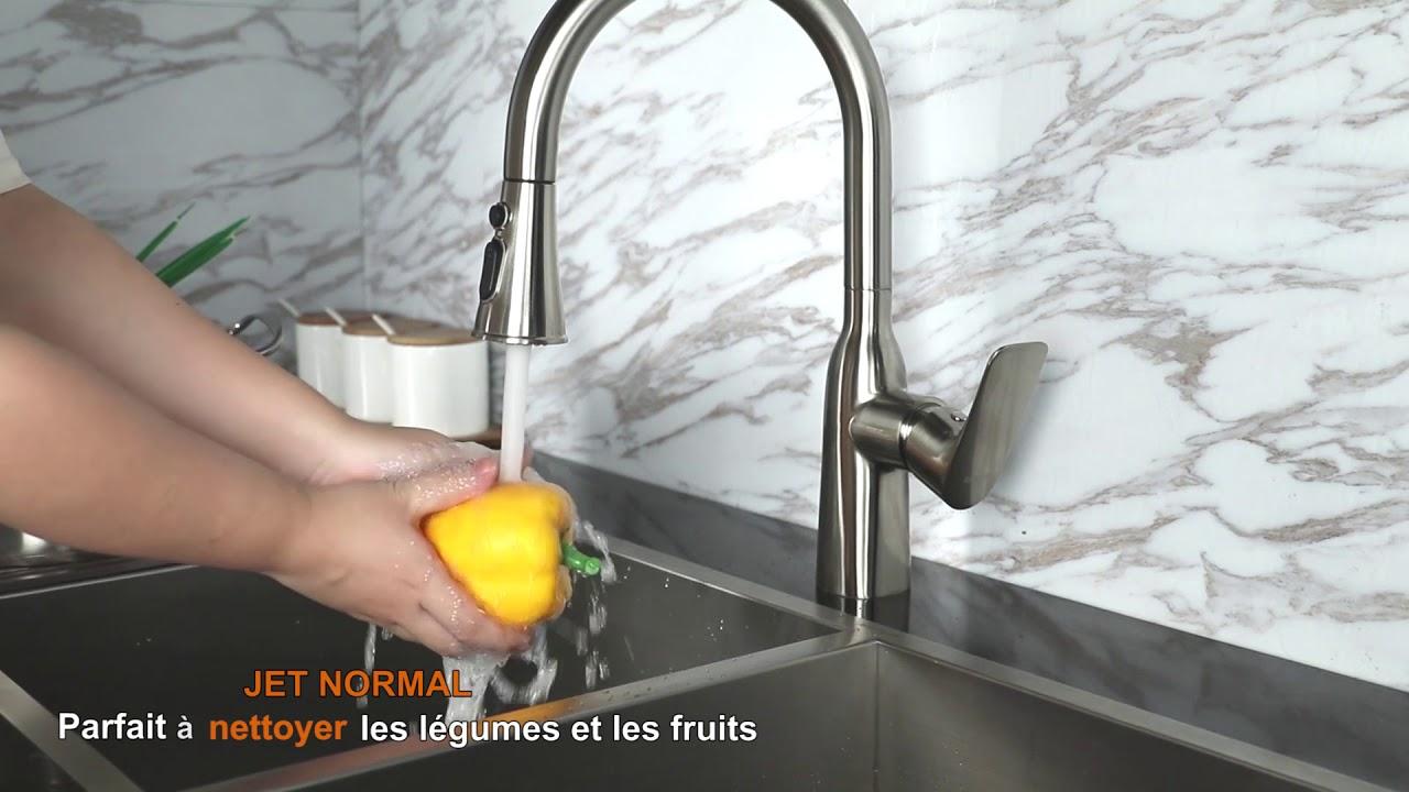 Wowow Robinet Cuisine Douchette Extractible Mitigeur Evier Cuisine Pivotant A 360 Youtube