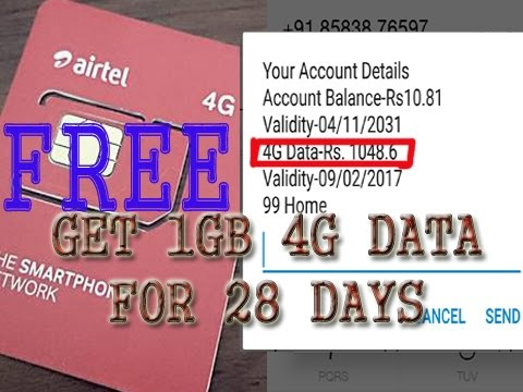 [FREE] Airtel Providing Free 1GB 4g/3g Data for 28 Days With Proved | Limited Period Offer Grab Now!