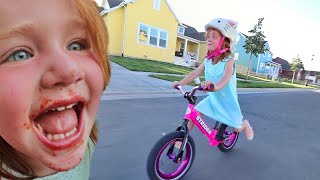 ADLEY LEARNS TO RIDE A BIKE!! What we do Before Bedtime with the Family, and SPAGHETTI 🍝