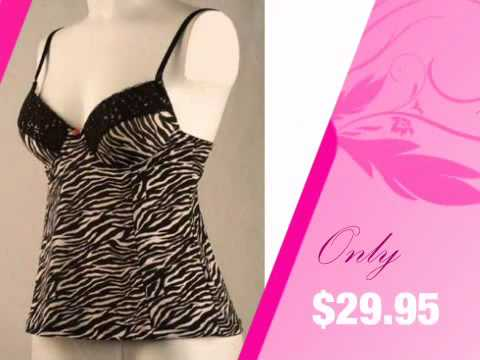 Zebra Lingerie Camisole with Built-in Bra