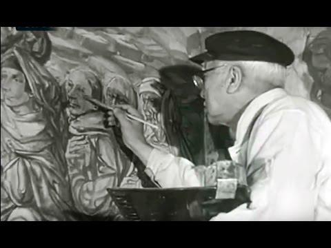 1965 Tsuguharu Foujita, el artista japonés decora capilla Notre-Dame-de-la-Paix en Reims, Francia