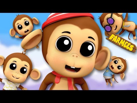 Five Little Monkeys Jumping On The Bed   English Rhymes   Preschool Songs by Farmees S02E68