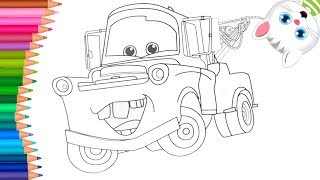 Tow Mater - Cars Movie Coloring Pages Drawing For Kids And Children