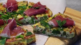 Vegetable Frittata topped with Prosciutto