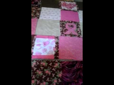 Large Pink Ribbon Breast Cancer Survivor Quilt