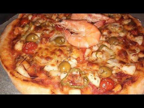 recette-de-pizza-aux-fruits-de-mer😋بتز-بالفواكه-البحر-رائعة-وسهلة-😋😋🔔👈
