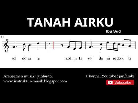 Lagu Tanah Airku - Notasi Balok Melodi Pianika - Doremi Solmisasi