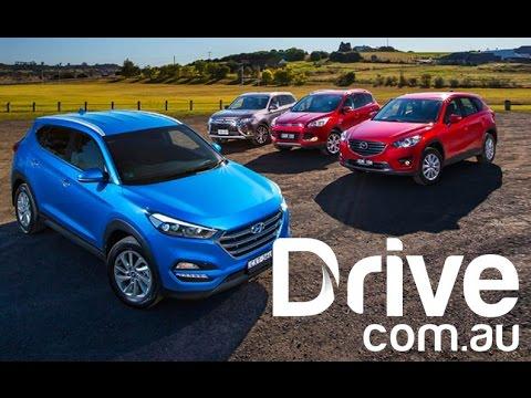 Hyundai Tucson v Mazda CX-5 v Ford Kuga v Mitsubishi Outlander Comparison | Drive.com.au