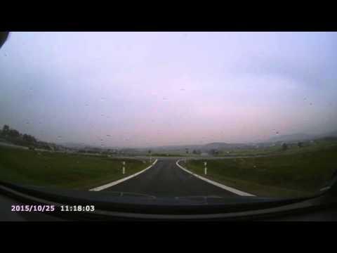 Testvideo Dashcam Rollei CarDVR-210 Wifi und GPS bei schlechtem Wetter, Weitwinkel