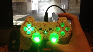 PS3 controller custom painted blood splatter design with green leds & green rumble leds