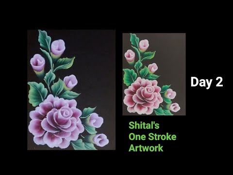Beginners Guide |Simple Flower In One Stroke Painting  Day 2