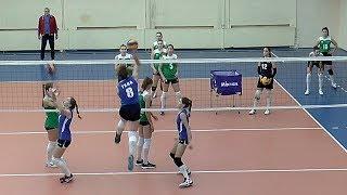 Волейбол.  Нападающий удар. Девушки. Россия.  Московская область vs Тульская область