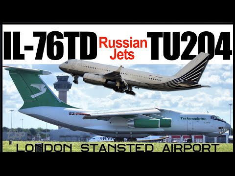 ILYUSHIN IL-76 Turkmenistan IL76 & TUPOLEV TU204 of Business Aero Rare Russian Plane Spotting London