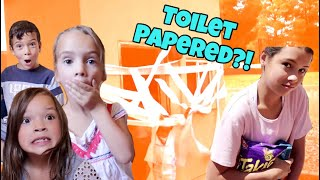 24 Hours Overnight in a Play HOUSE! we got TOILET PAPERED!!