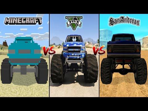 MINECRAFT MONSTER TRUCK VS GTA 5 MONSTER TRUCK VS GTA SAN ANDREAS MONSTER TRUCK - WHICH IS BEST?