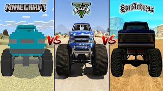 MINECRAFT MONSTER TRUCK VS GTA 5 MONSTER TRUCK VS GTA SAN ANDREAS MONSTER TRUCK - WHICH IS BEST?