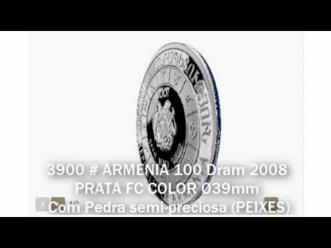 3900 # ARMENIA 100 Dram 2008 PRATA FC COLOR Ø39mm C/ Pedra Semi-preciosa (PEIXES)