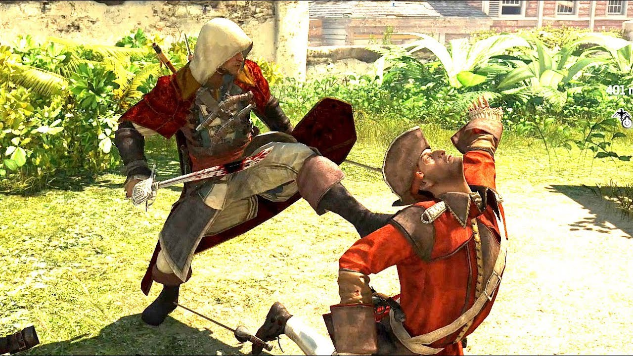 Assassin S Creed 4 Black Flag Crimson Cloak Outfit Sword Combat