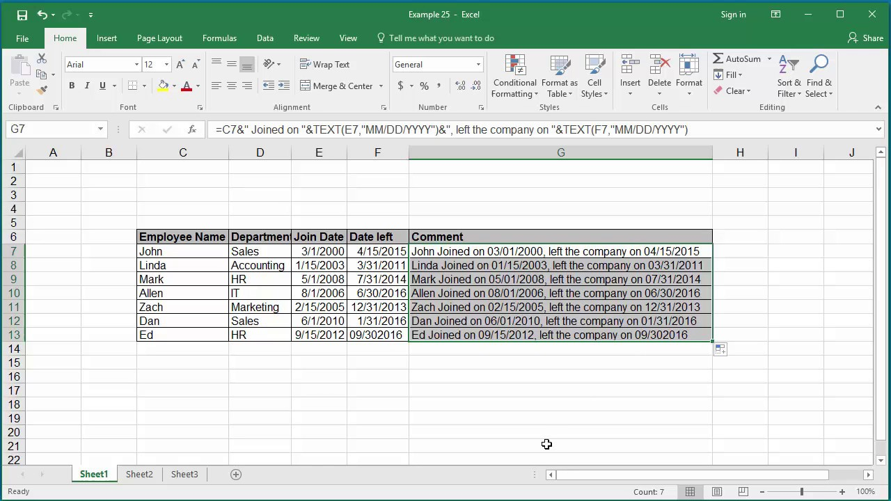 Concatenate date in excel in Perth