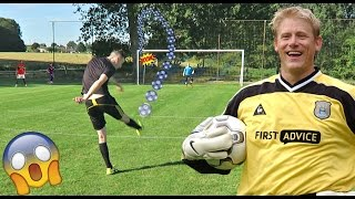 PETER SCHMEICHEL IN REAL LIFE SHOOTING CHALLENGE!! (FOOTBALL)