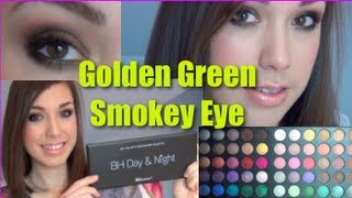 golden green smokey eye look with bh cosmetics day and night palette