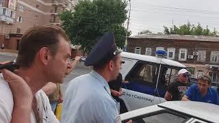 Жёсткое задержание, после протестов против повышения пенсионного возраста. г. Саратов 1 июля.