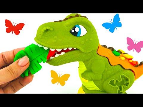 Забавная игрушка динозавр. Лепим из пластилина, играем