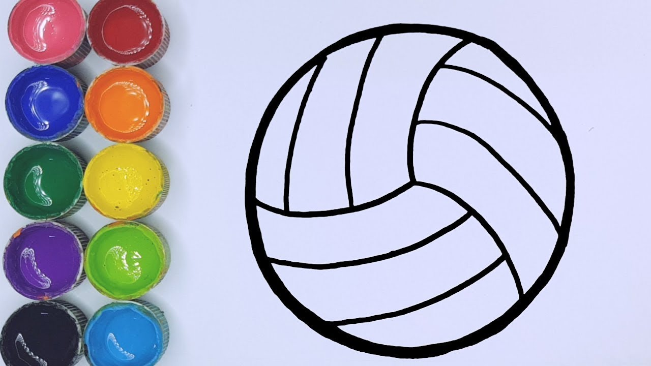 Cara Menggambar Dan Mewarnai Bola Voli Warna Warni