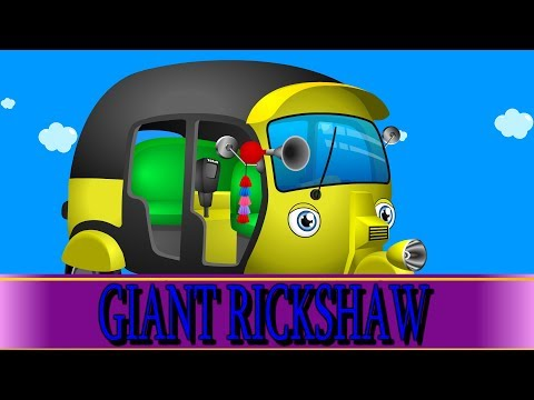Giant Baby Rickshaw   Mega Auto Family   Baby Tuk Tuk became a Giant and Destroyed City
