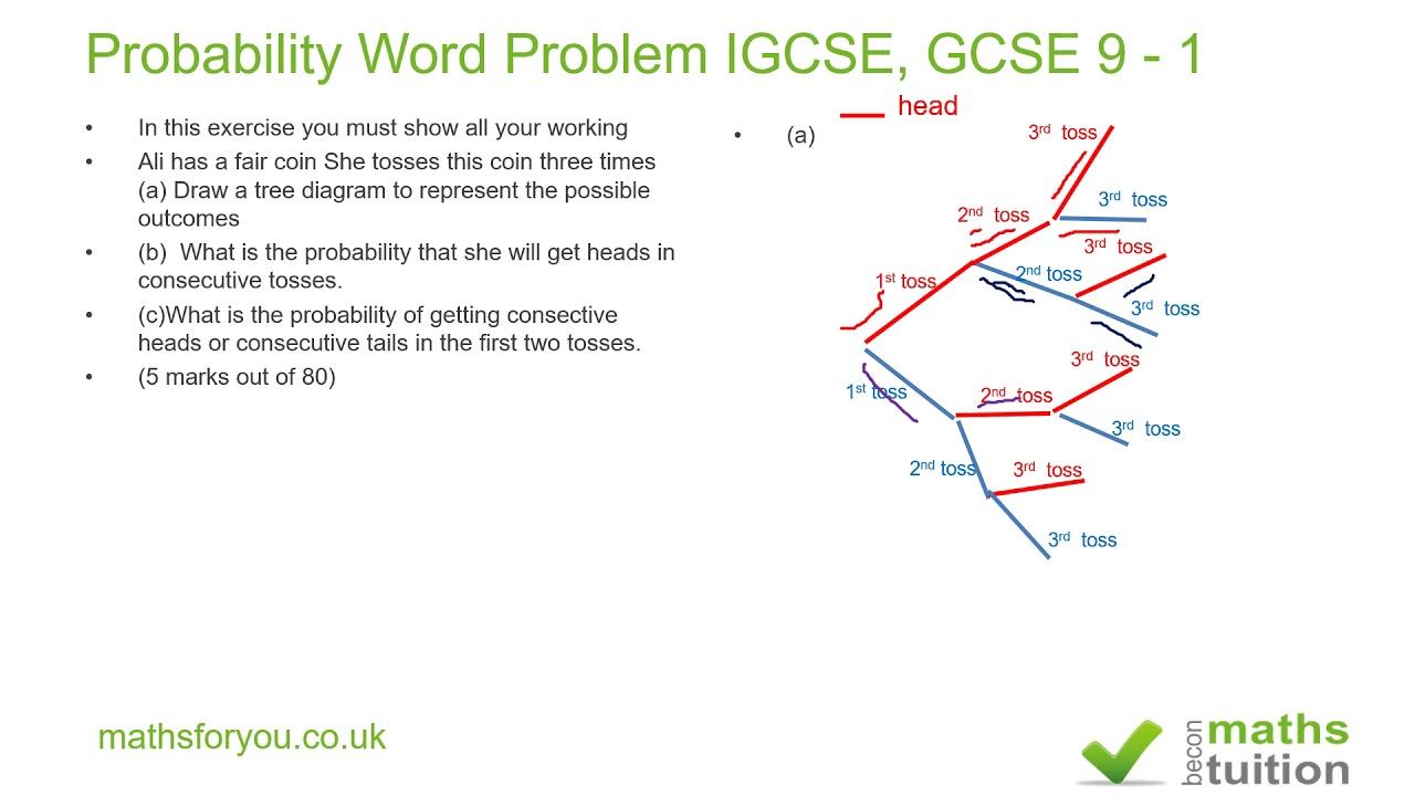 Probability Word Problem Igcse Gcse 9 1
