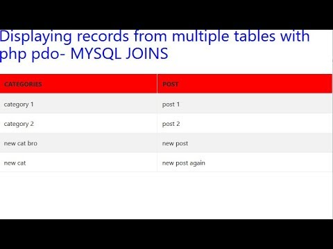 Displaying records from multiple tables with php pdo- MYSQL JOINS ...
