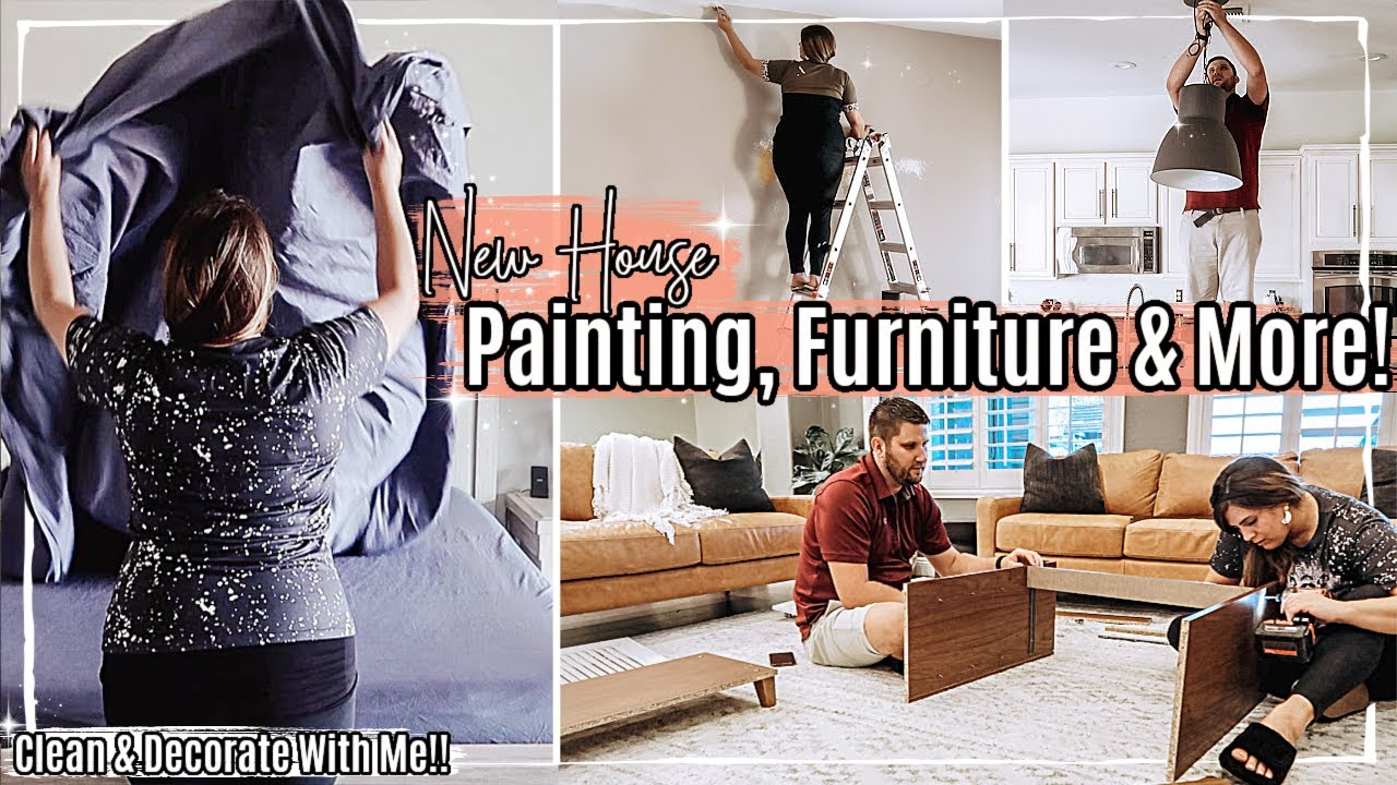 🥰 New House CLEAN & DECORATE WITH ME 2021 :: Painting, Furniture, Boll & Branch Bedding & New Light